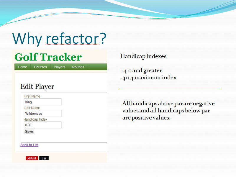 power point slide of player form before refactoring